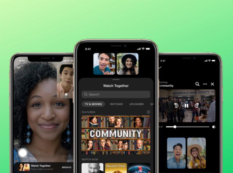 Whatch Toghether, immagine di 3 cellulari con sfondo verde che raffigurano l'app con persone