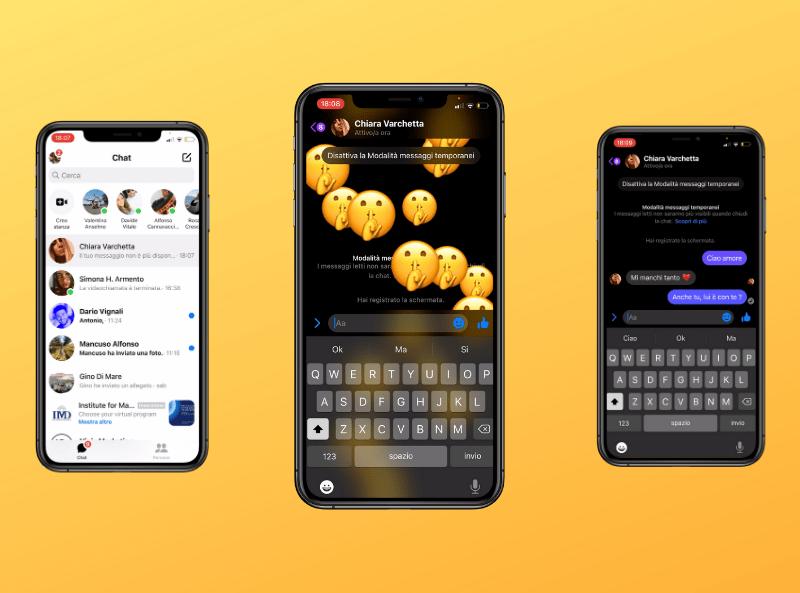 messaggi temporanei instagram e messenger. cellulare sfondo giallo chat