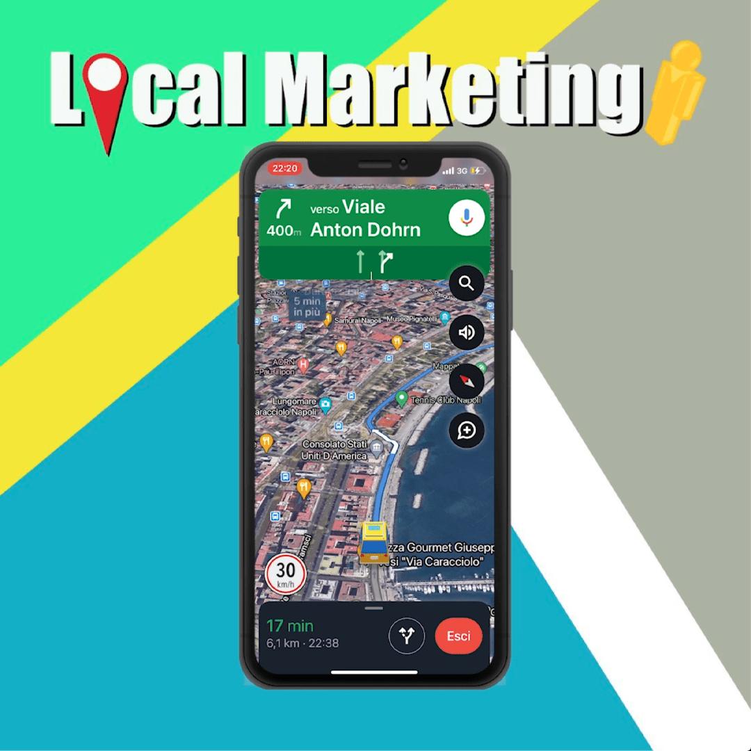 mappa del marketing locale cellulare con la mappa di napoli